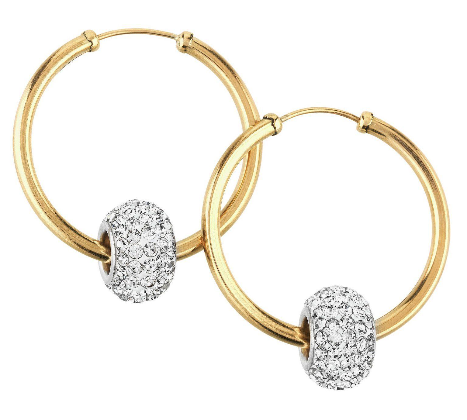 Revere 9ct Gold Crystal Glitter Slider Hoop Earrings At Argos Co Uk