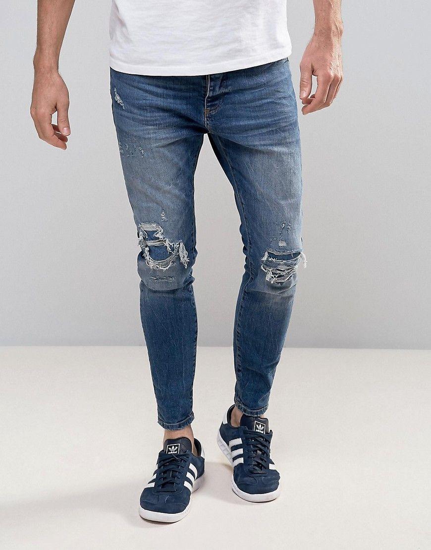 87e23690e58 Pull&Bear Skinny Carrot Fit Jeans In Mid Wash Blue - Blue | iddfaraj ...