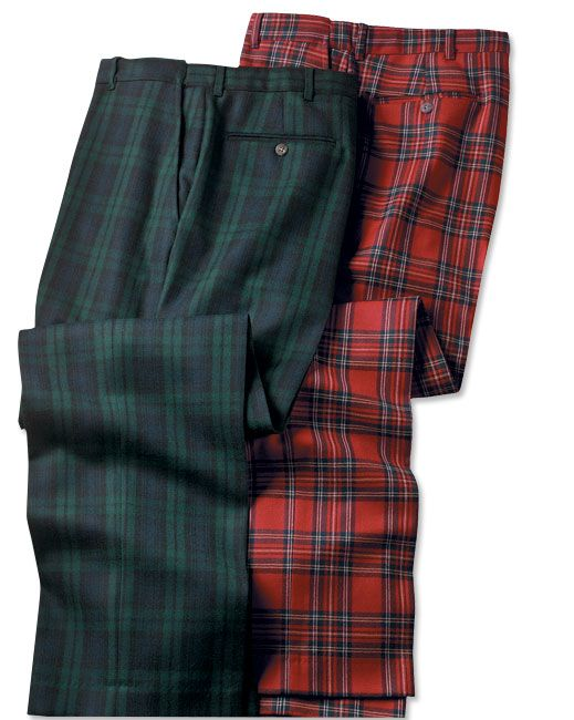 I kind of like the red ones for a holiday party....I d have to have them  tailored to a taper fit though Scottish Tartan Trousers -- Orvis on  Orvis.com! aacfb8382