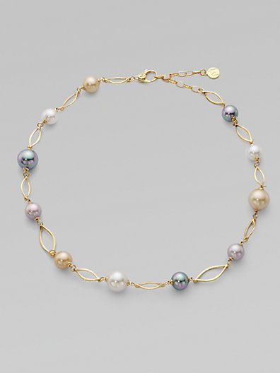 10MM & 12MM White, Champagne, Grey & Black Pearl & Link Necklace – Zoom – Saks F…