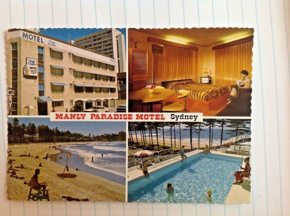 Postcard Manly Paradise Motel Sydney Australia Raglan St Postcard Australia Vintage Advertisements