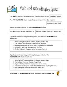 Main & subordinate clauses doc | ENGLISH | Grammar activities