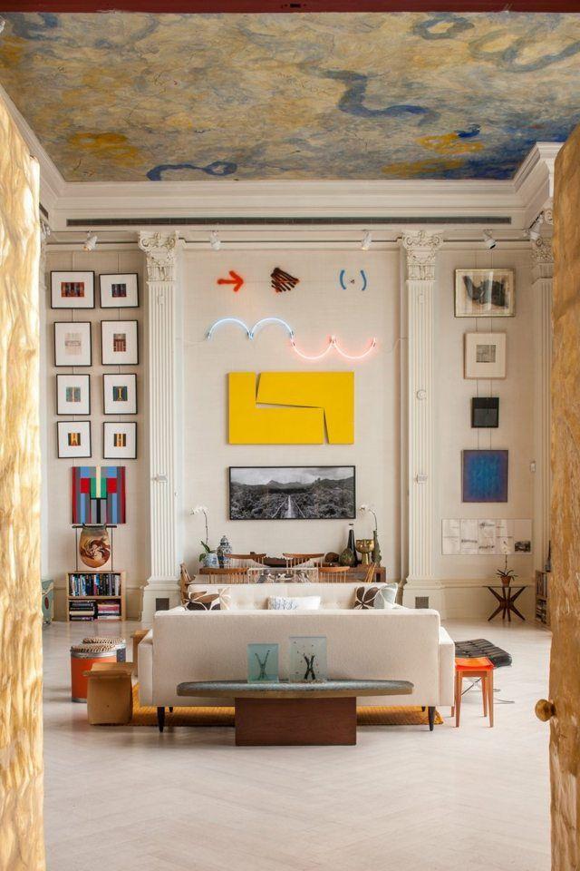 wohnzimmer hohe decke einrichtungsideen schön stilvoll, Wohnzimmer