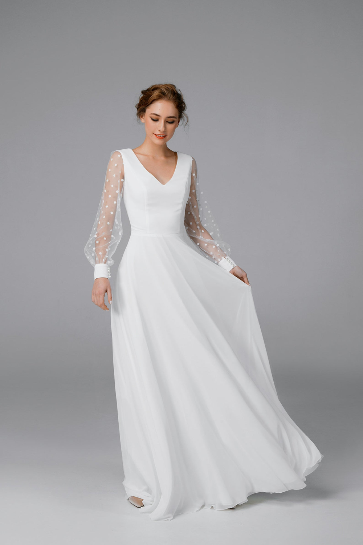 Simple Chiffon Wedding Dress Long Sleeve Satin Wedding Dress Etsy Etsy Wedding Dress Long Wedding Dresses Modern Wedding Dress [ 1500 x 1000 Pixel ]
