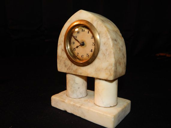 Vintage Marble Desk Clock/ Art Deco. by Wsloutlet on Etsy
