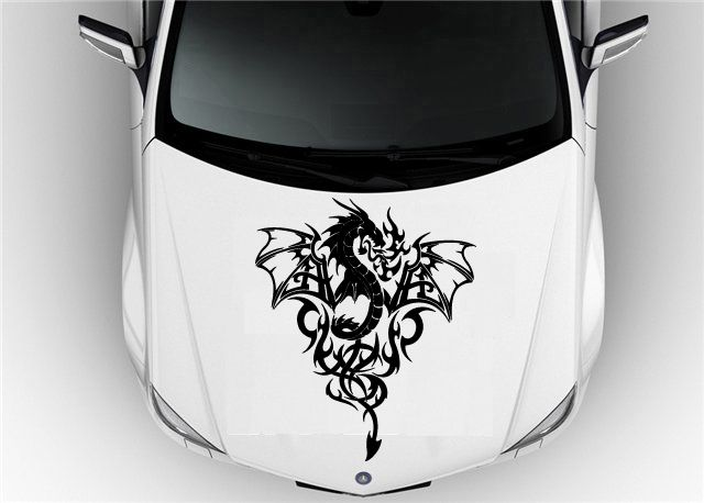Car DRAGON DECALS Hood Car Vinyl Decal Art Sticker Graphics - Car decals designmodified cars using tribal design decal car design