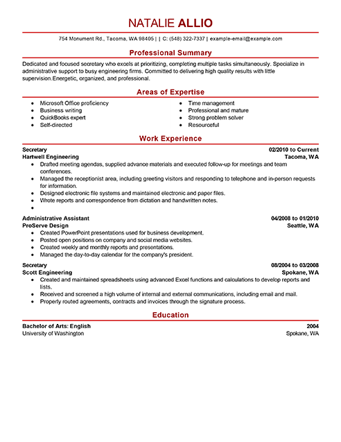 Resume Examples Secretary Resumeexamples