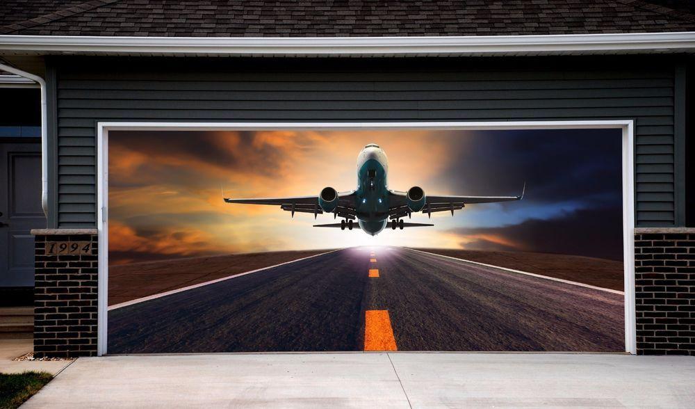 Garage Door Murals Airplane Full Color Door Covers Aircraft Garage