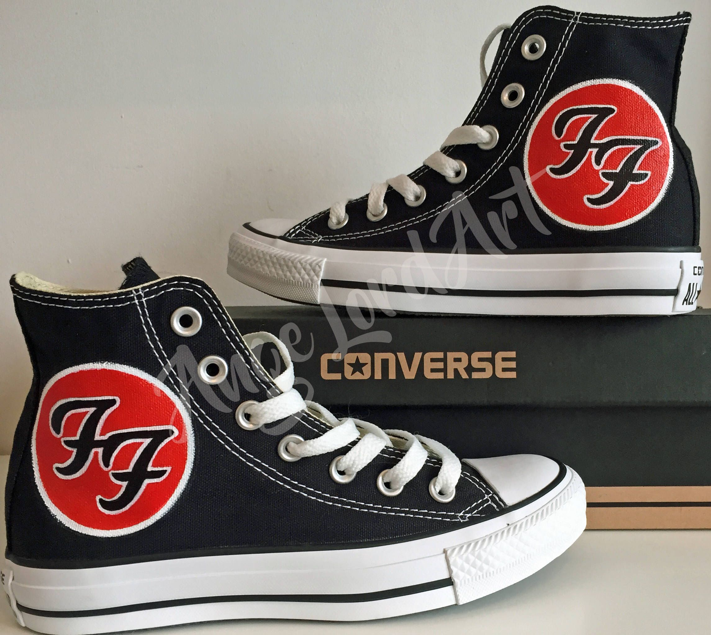 dc3aebc0a206 ... clearance custom painted foo fighters inspired converse hi tops shoes  sneakers in all sizes. advance