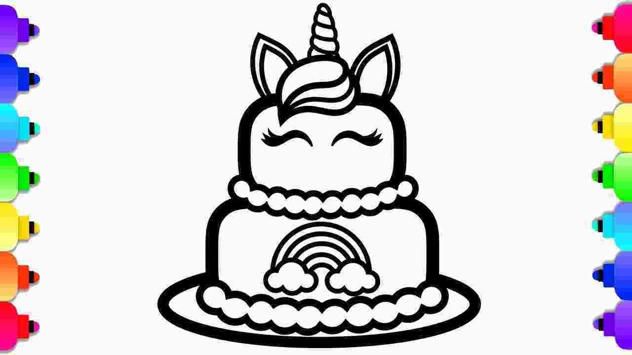 Kawaii Cake Coloring Page Glitter Unicorn Cake Coloring And Drawing For Kids 168106 In 2020 Unicorn Coloring Pages Printable Coloring Pages Coloring Pages