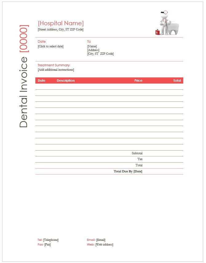18 Dental Invoice Templates With Brilliant Designs Word Pdf Excel