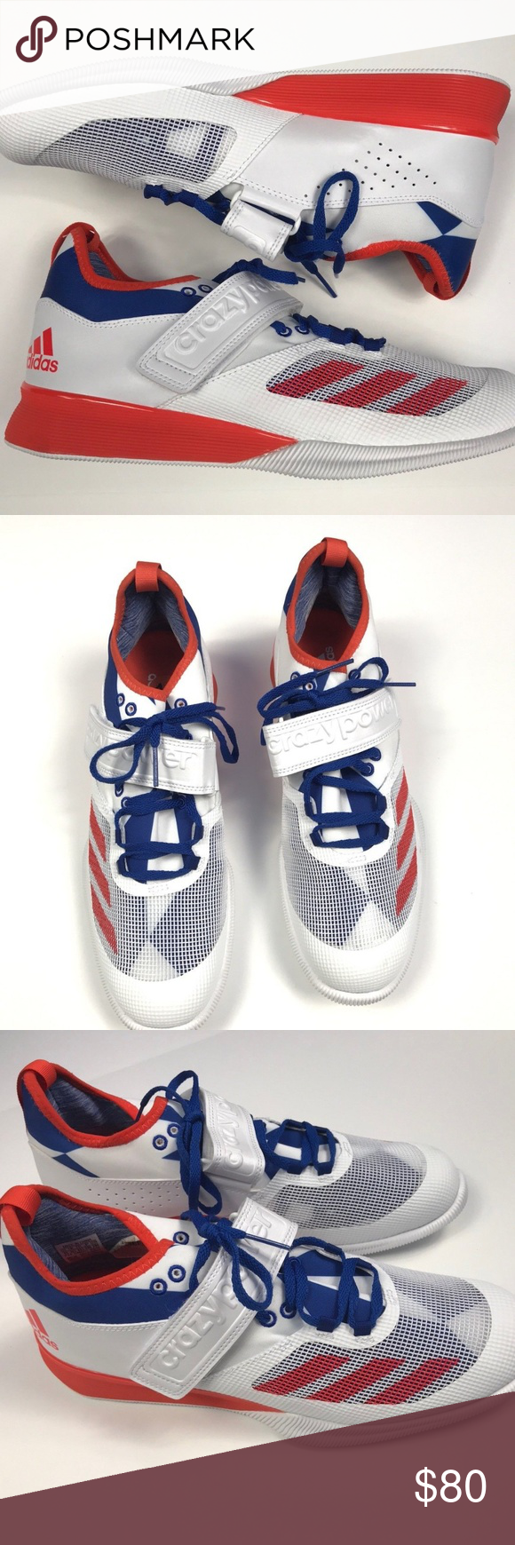 brand new 39da6 fae51 Adidas Crazy Power Trainer Weightlifting Shoes Crazy Power WhiteRedBlue   BA9170 Maximise performance from the bench to the bar in these mens weight  ...