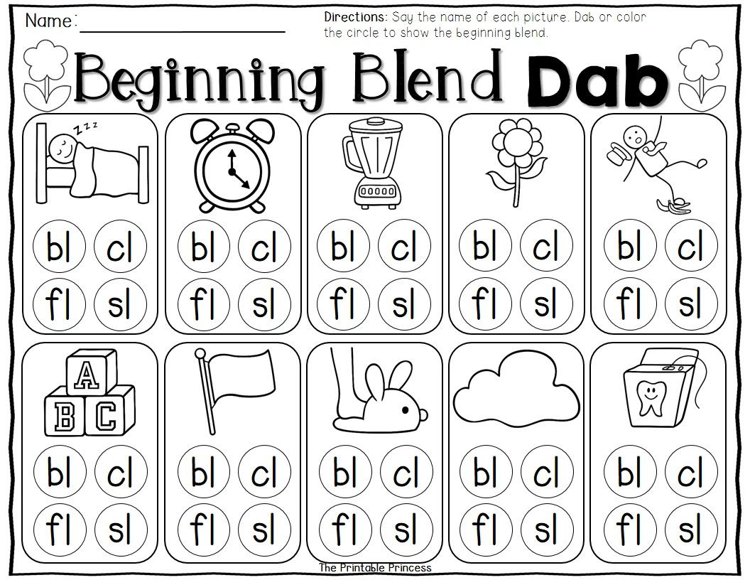 Worksheets L Blends Worksheets kindergarten literacy and math centers for spring bingo dabber beginning l blends dab use a to the blend