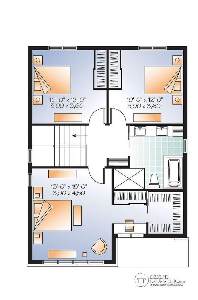W3710-V1 - Plan de maison moderne, 3 chambres, grand vestibule