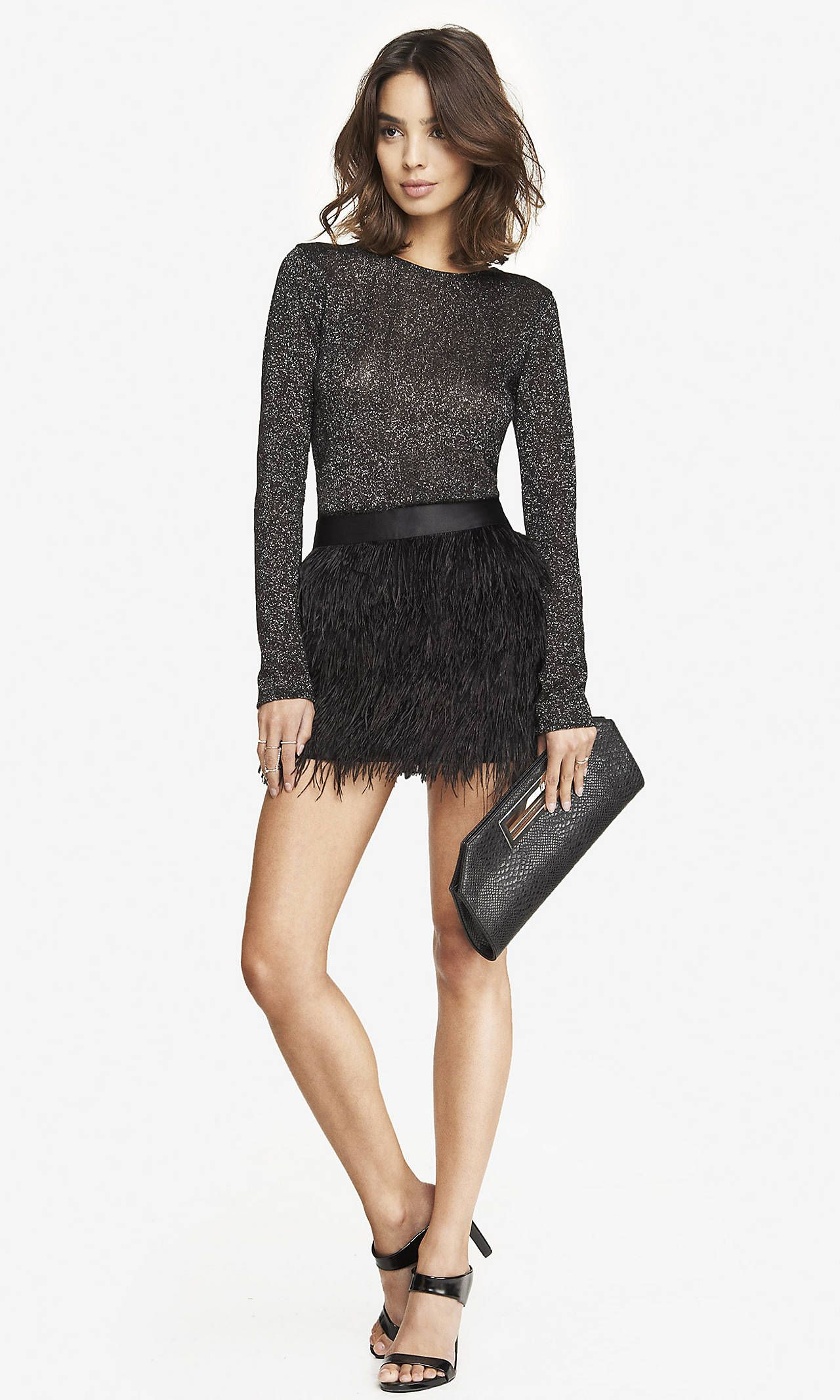 OSTRICH FEATHER FRINGE MINI SKIRT Express Eve outfit