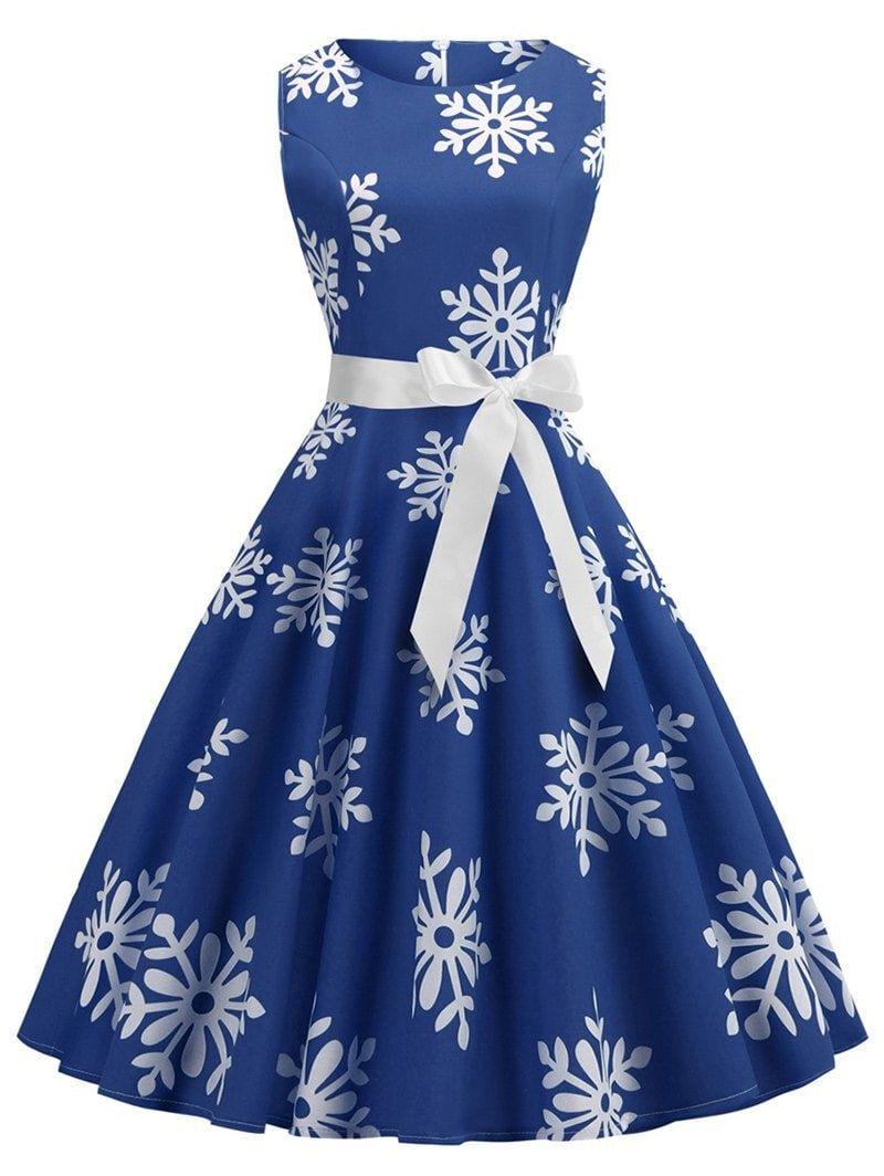 21913b89a2 Plus Size Vintage Snowflake Print Christmas Flare Dress