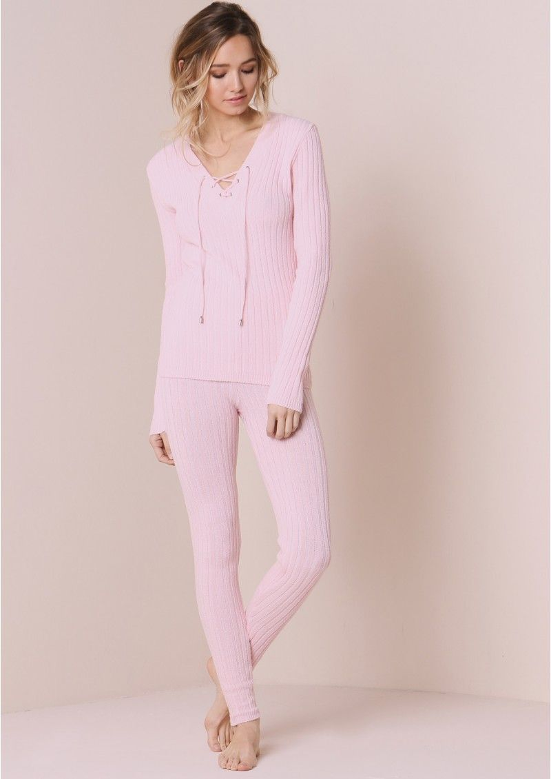 Mackenzie baby pink lace up ribbed knitted tracksuit the uomg i