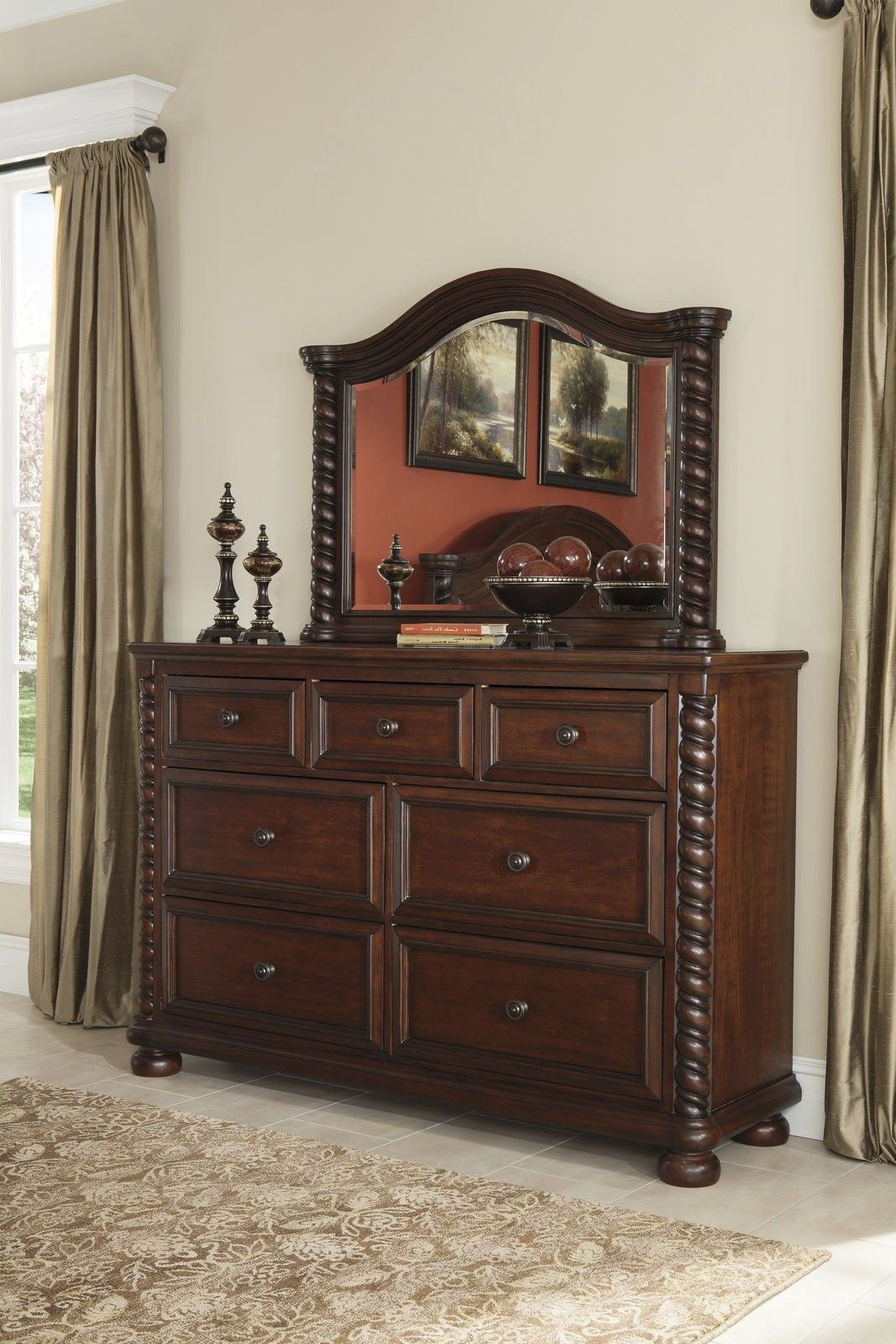 Best Ashley Brennville Seven Drawer Dresser In Brown Cherry 400 x 300