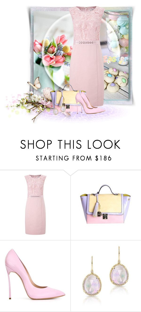 """""""Easter Finery"""" by loveroses123 ❤ liked on Polyvore featuring Precis Petite, Blue Les Copains and Casadei"""