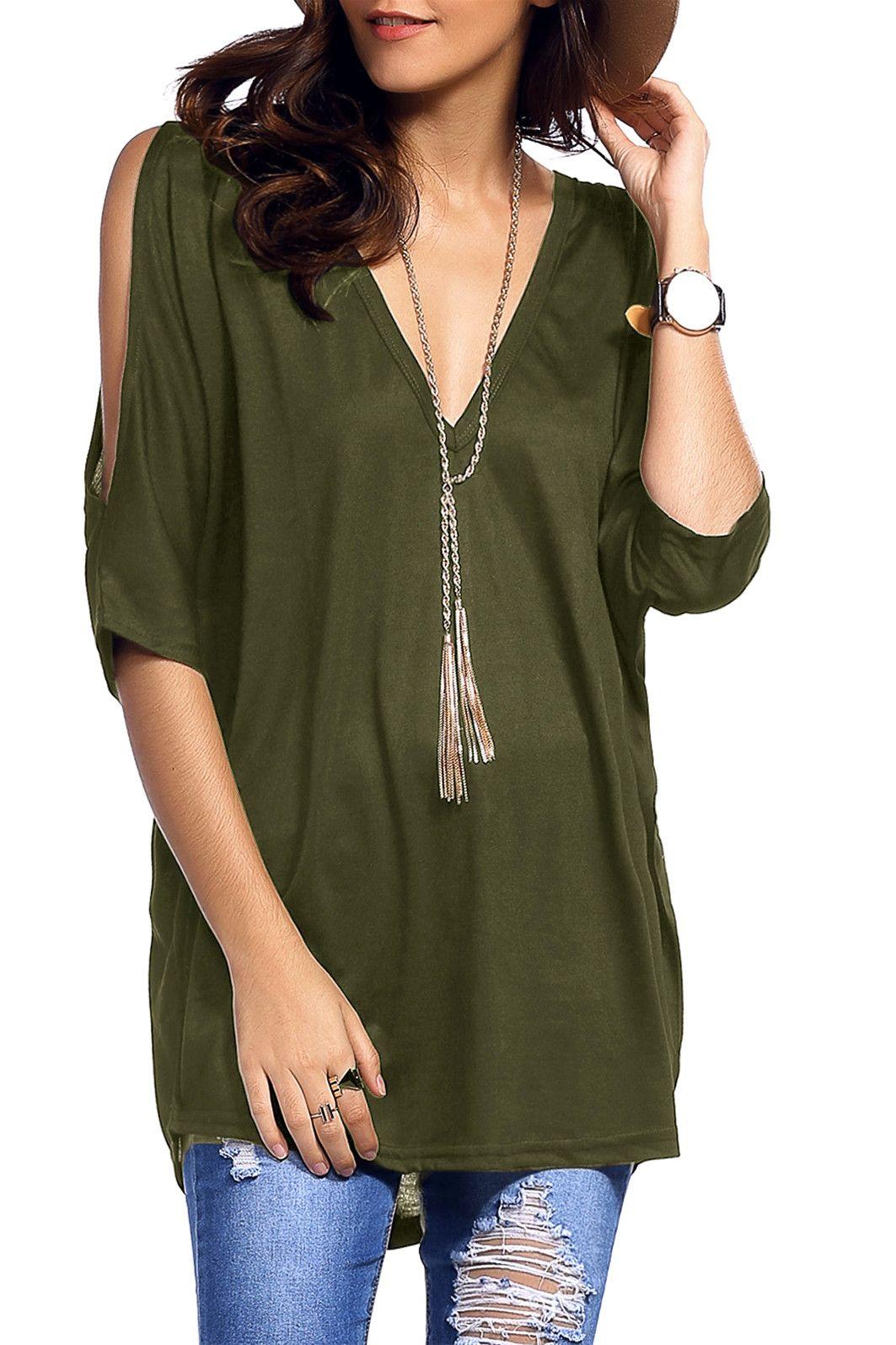 58672ecd91549  10.04 Cold Shoulder Low Cut Asymmetrical T-Shirt