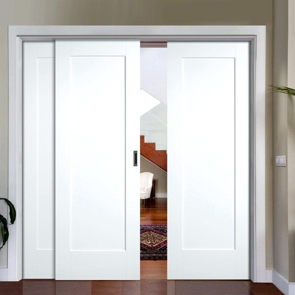 Super Sliding Panel Doors Closet Slide White Shaker Pattern