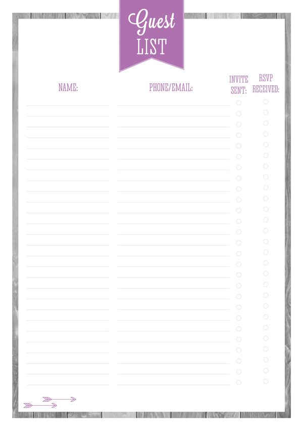 Good Free Printable Party U0026 Entertaining Planners Part One By Eliza Ellis.  Includes Quick Party Planner, Guest List, Gift List, Party Food, Party  Catering ...  Free Printable Guest List