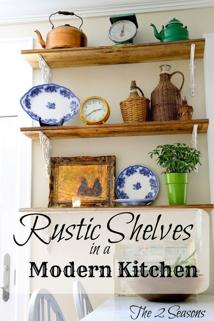 Love these Rustic Shelves that go great in a modern kitchen.