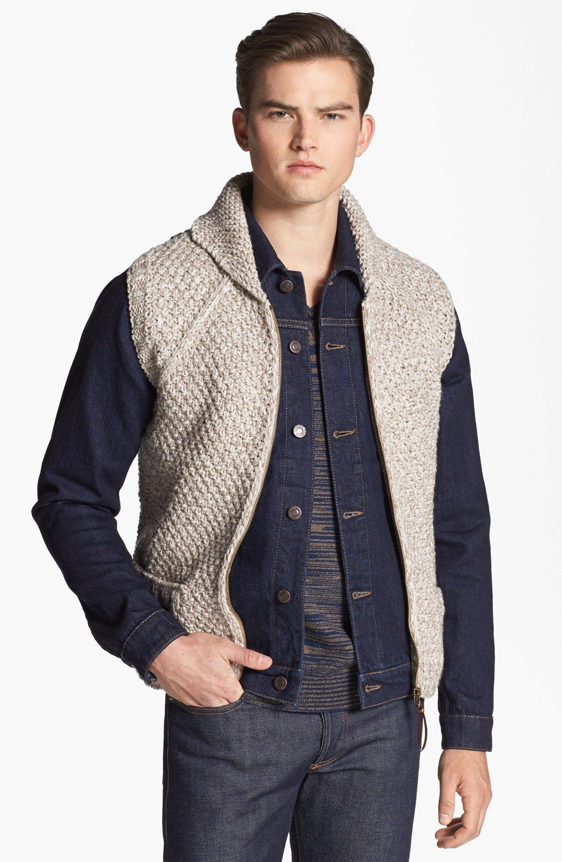 Missoni Hand Knit Wool Shawl Collar Zip Vest in Gray for Men ...