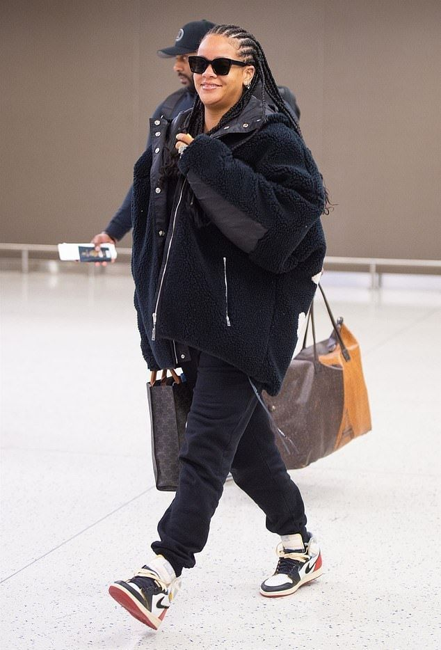 Rihanna White Leather High Top Sneakers Airport Style