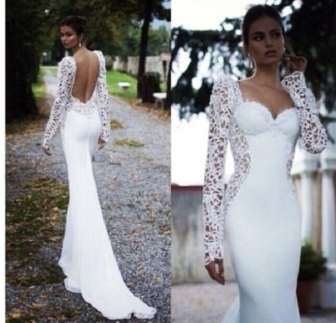 Elegant long white long sleeve prom dress 2014 with sexy open back ...