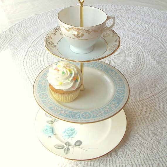 ... 3 Tiered Cupcake Stand Tea Party Centerpiece or Boyu0027s Baby Shower Cookie Display with Tiers of English China Dishes (Teacup / Cup Saucer Plates) by ... & Tea plates fancy tray | Baby Hartzell | Pinterest | Tea party ...