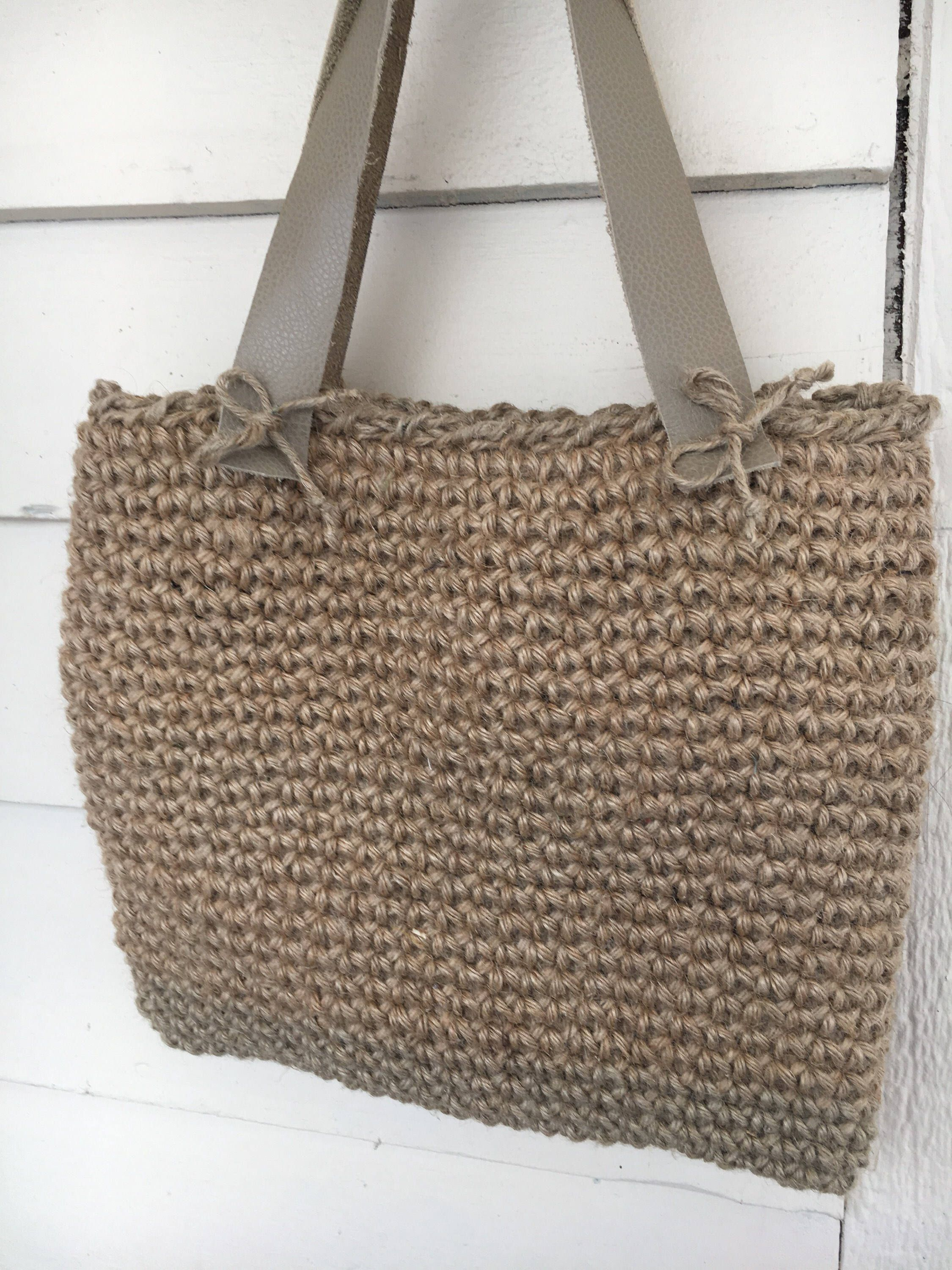 8871085084 Excited to share the latest addition to my  etsy shop  Jute twine crochet  tote with leather straps -Batooli Bags