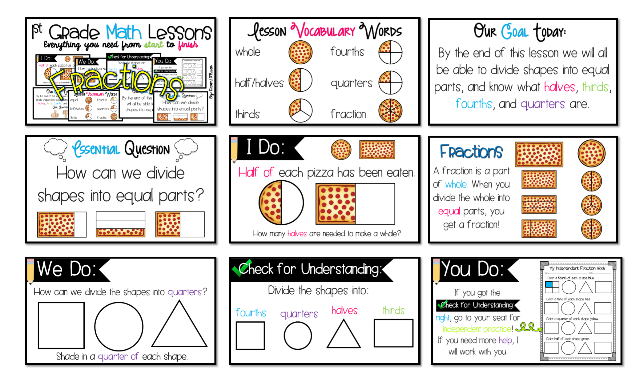 1st Grade Math Lessons Fractions