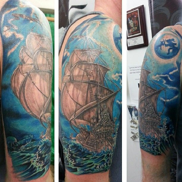 Disney Tattoo Captain Hook Ship Peter Pan Black and White ...