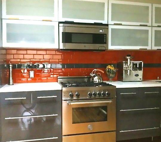 Lush Poppy 3x6 Bright Orange Subway Tile Kitchen Backsplash Installation  With Stripe Of Lush Reef Brown