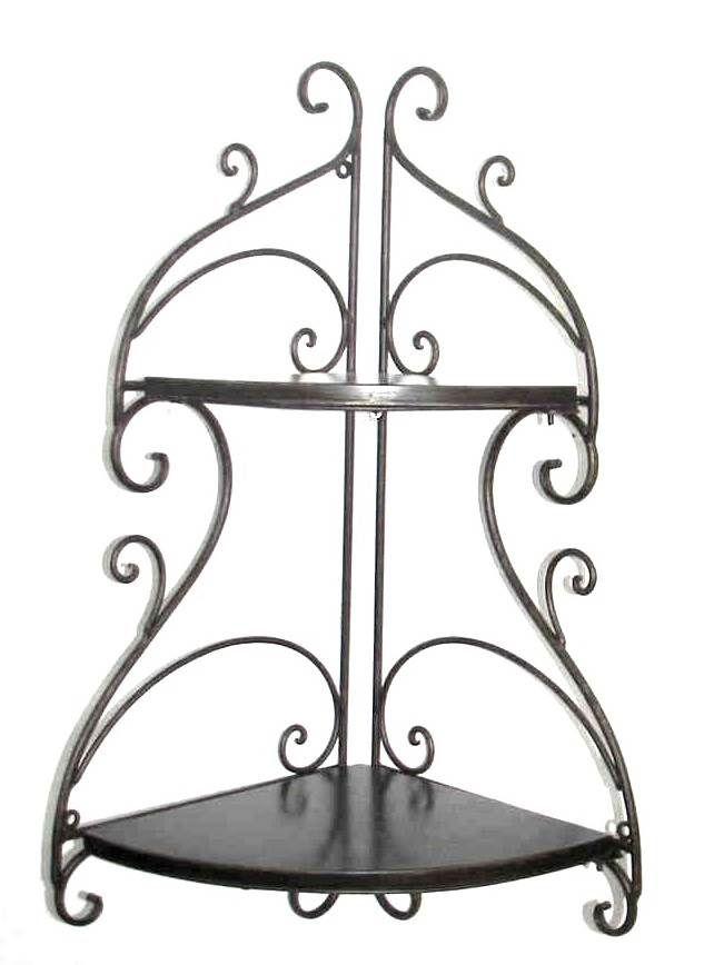 Tuscan Wrought Iron Decorative Wall Shelf Set Of 2 Corner Wall