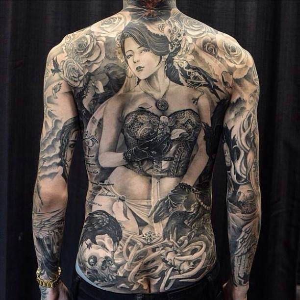 Portrait Back Flower Skull Tattoo #Tattoo, #Tattooed