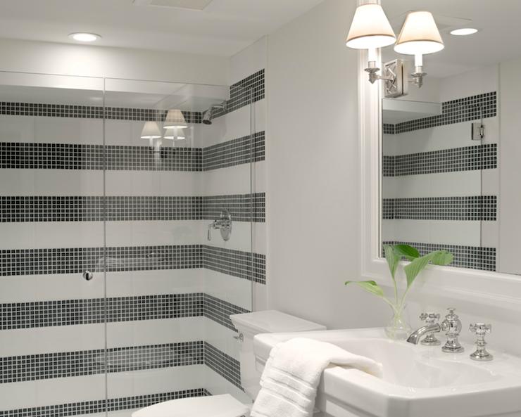 Bathrooms Glossy White Pedestal Sink Seamless Glass Shower Small Black Tiles Shower Surround