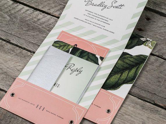 Tropical Glam Pocket Wedding Invitation Suite Or Sample Pocket Wedding Invitations Wedding Invitations Invitations