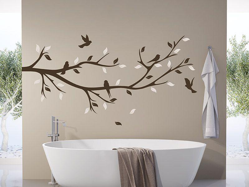 Wandtattoo Bunter Dekozweig mit Vögeln - Wandtattoos Fürs Badezimmer