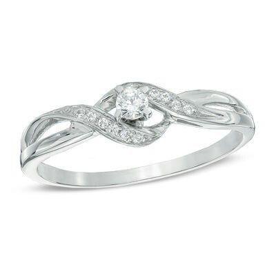 Zales 1/10 CT. T.w. Diamond Bypass Split Shank Promise Ring in 10K Rose Gold xBoENrLoQu