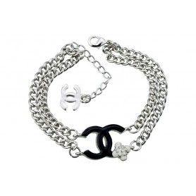 e0dd5eef751 Chanel Replica Black Enameled CC Logo Thick Double Silver Link Chain  Bracelet