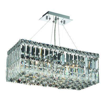 Elegant Lighting Maxim 4 Light Crystal Chandelier Crystal Trim: