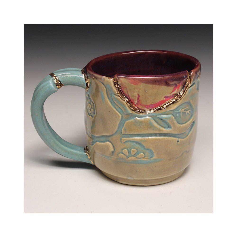 Kintsugi Wabi Sabi Japanese Inspired Functional Handmade Ceramic Coffee Or Tea Mug With Decorative Repair Done With Real Gold By Jaredjaf Kintsugi Tea Mugs Wabi Sabi