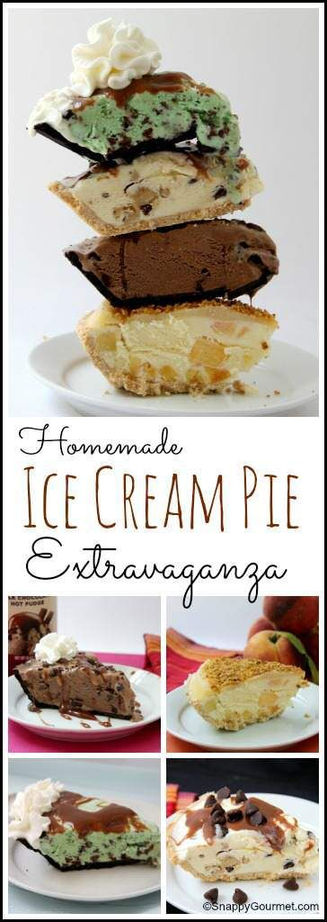Ice Cream Pie Extravaganza - 4 easy recipes for homemade ice cream pies including Fudge Mint Chip, Chocolate Chip Cookie Dough, Mexican Chocolate, and Cinnamon Crunch Peaches & Cream. SnappyGourmet.com