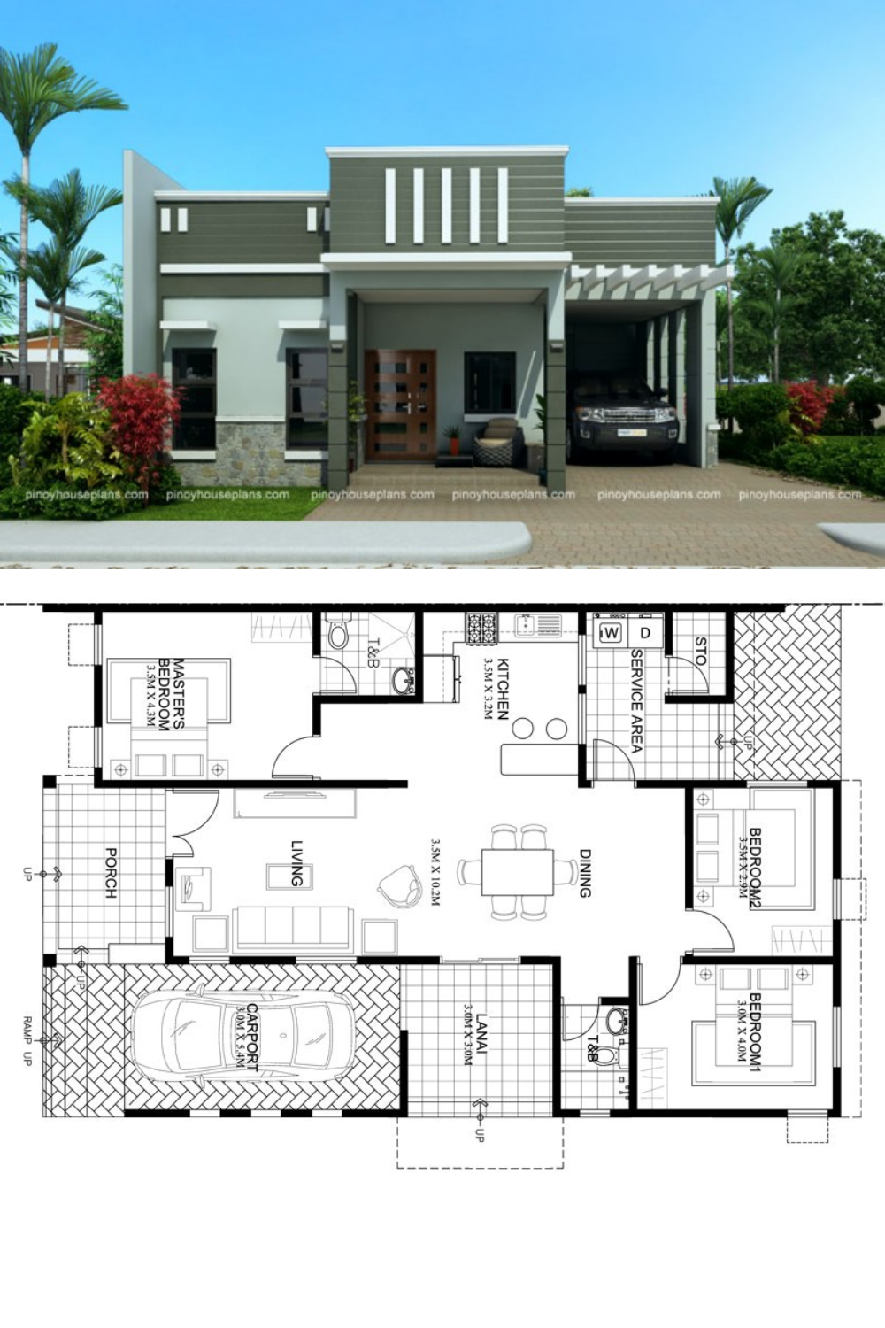 One Story Dream House Plan With Parapet Design Roof Architect Design House House Plan Gallery Dream House Plans