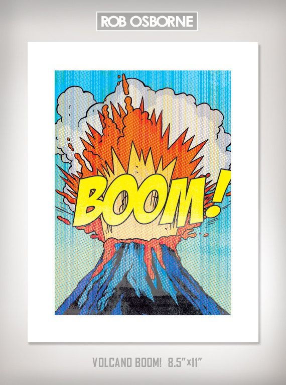 volcano boom comic book modern pop art print 85x11 by