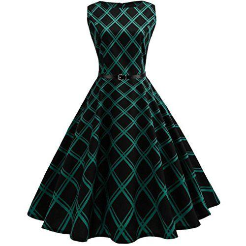 a0947962ca566 Abito Senza Maniche Vestito da donna Hepburn feiXIANG Retrò anni  50  Floreale Hepburn Abito In
