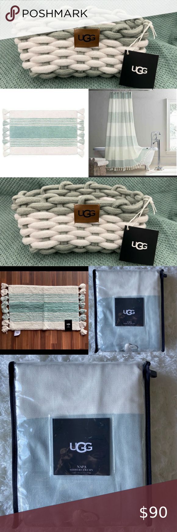 Ugg Napa Shower Curtain Storage Bin Rug Combo Shower Curtain