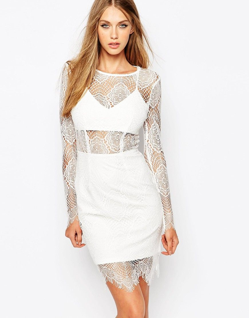 Image 1 of Missguided Lace Long Sleeve White Dress | FORMAL DRESS ...